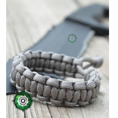 "Paracord polska Bransoleta survivalowa z paracordu regulowana typ ""mad max"" kolor: ""neutral grey""."