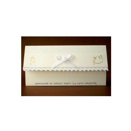 Zaproszenie na Chrzest Święty dla Matki Chrzestnej - Karnet z kopertą w kolorze ecri