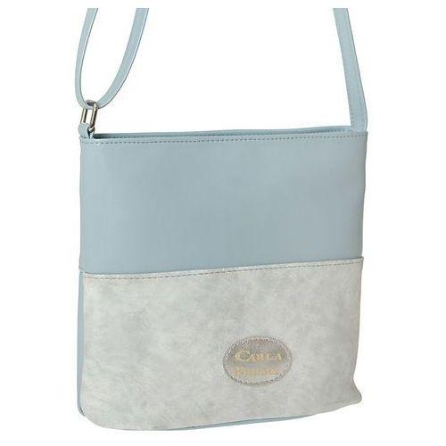 Carla berry Lekka torebka listonoszka błękit z popielatą wstawką - niebieski ||szary