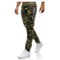 Spodnie męskie dresowe joggery moro-zielone Denley QN267, dresowe