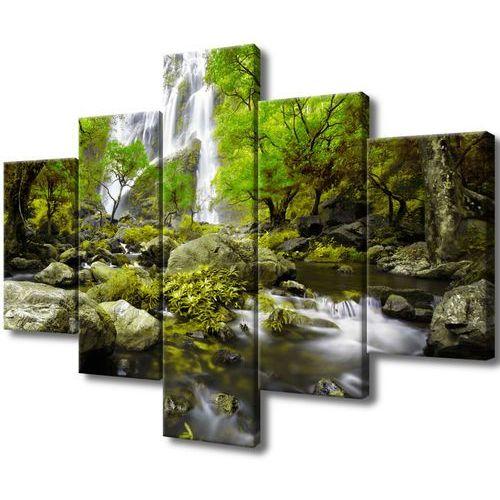 Cenodi Obraz na płótnie wodospad w zieleni woda drzewa ro