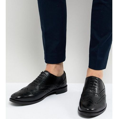 design wide fit brogue shoes in black leather - black, Asos