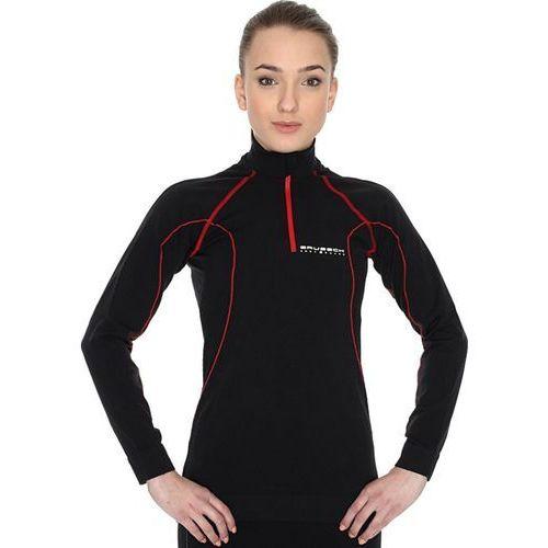Brubeck active ls01040 - damska bluza (czarny-czerwony)
