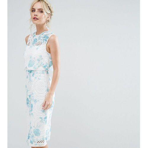 ASOS PETITE SALON Crop Top Lace Pencil Dress with Blue Floral Print - White, kolor niebieski