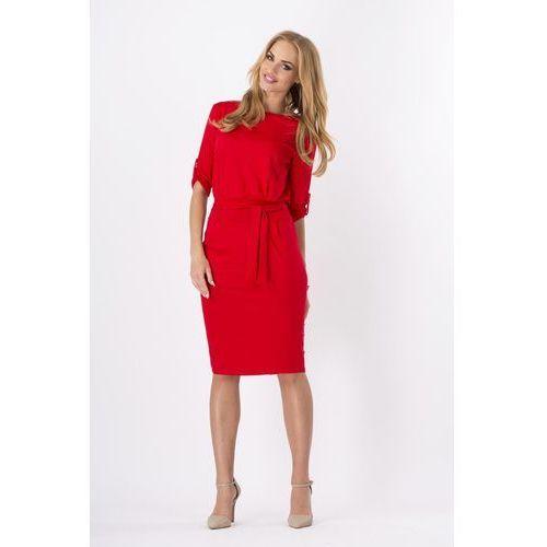 Czerwona Kobieca Sukienka Midi z Podpinanym Rękawem z Paskiem, kolor czerwony