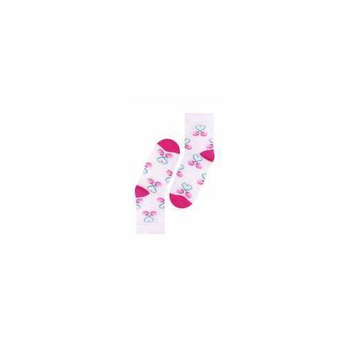 Skarpetki Bambusowe dziewczęce Biel/Wiśnia, 020029gl_wis