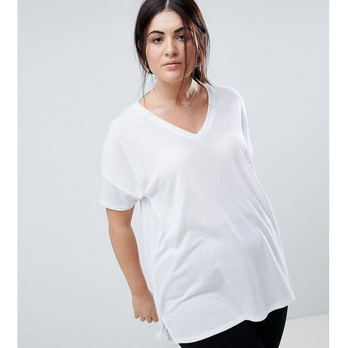 Asos design curve oversized longline t-shirt with v-neck in lightweight rib - white, Asos curve