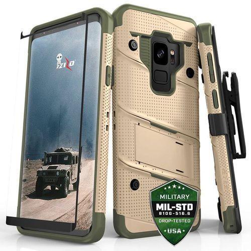 Zizo Bolt Cover - Pancerne etui Samsung Galaxy S9 ze szkłem 9H na ekran + podstawka & uchwyt do paska (Desert Tan/Camo Green)