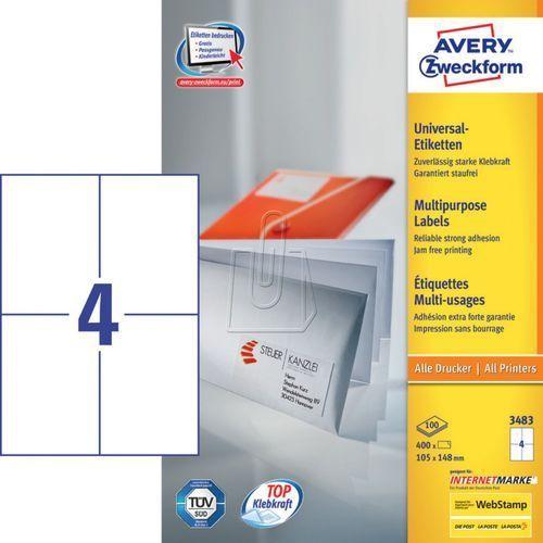 Avery zweckform Etykiety uniwersalne trwałe a4 105 x 148mm 100 arkuszy  3483 (4004182034835)