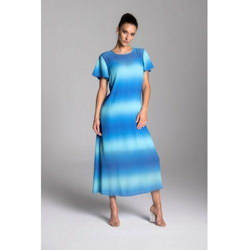 Długa letnia sukienka trapezowa z szyfonu w kolorze błękitno-turkusowym z krótkim rękawem typu motylek - kolekcja ombre marki Taravio