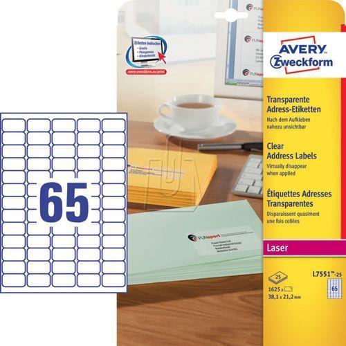 Etykiety adresowe Avery Zweckform przezroczyste 38,1 x 21,2mm 25 ark./op. L7551-, 87729