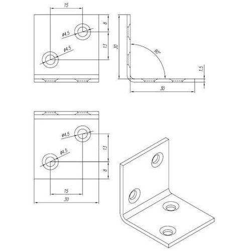 Domax Kątownik szeroki ocynkowany kso 1 30x30x30x1,5 mm