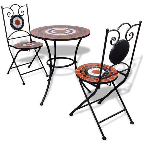 Vidaxl stolik i 2 krzesła z mozaiką biało-terakotową