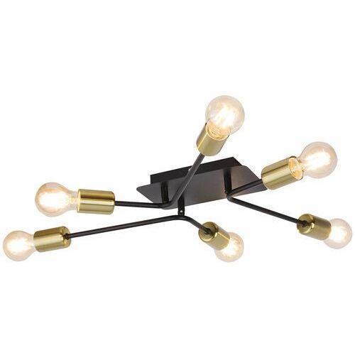 Rabalux Plafon lanny 2103 lampa sufitowa 6x15w e27 led czarny / złoty