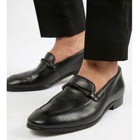 Dune wide fit loafers in black leather - black