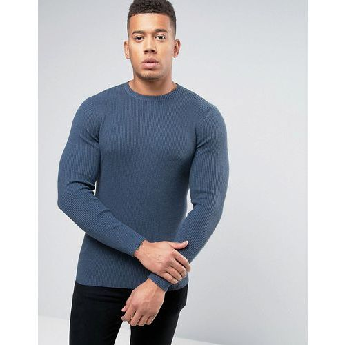 New look  ribbed muscle fit jumper with crew neck in blue - blue