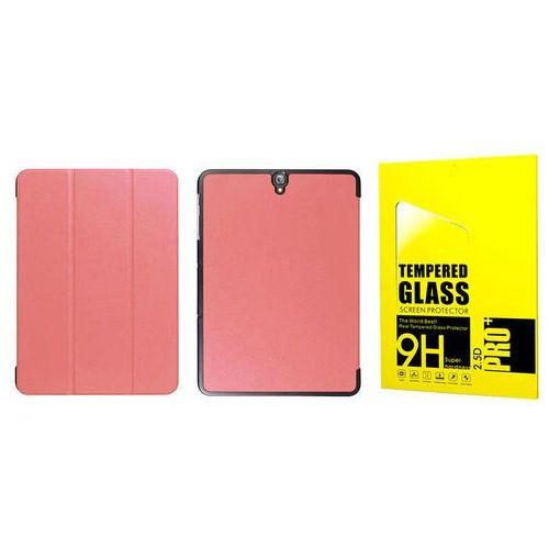 Etui book cover Samsung Galaxy Tab S3 9.7 różowe + szkło - Różowy