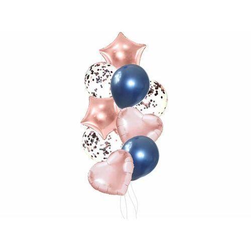 Zestaw balonów lateksowych złoty róż z niebieskim - 14 szt.
