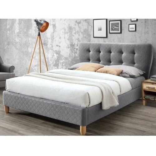 Łóżko ELIDE z pikowanym wezgłowiem - Szara tkanina - 140 × 190 cm, kolor szary