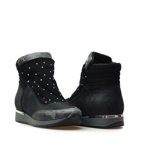 Sneakersy 0366 w.moro/s04/kw.nero czarne lico + zamsz marki Simen