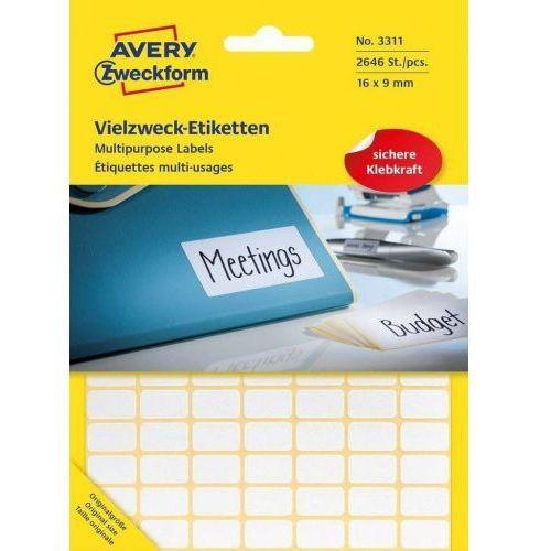 Avery zweckform mini etykiety w arkuszach do opisywania ręcznego, 16 x 9mm, białe, 2646 sztuk (4004182033111)