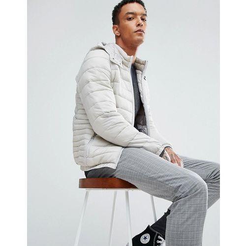 quilted jacket with detachable hood in light grey - grey marki Bershka