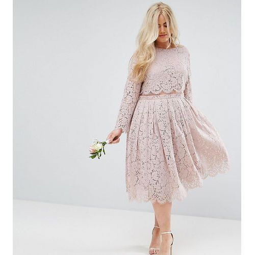 ASOS CURVE WEDDING Lace Long Sleeve Midi Prom Dress - Pink