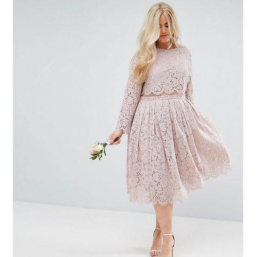 Asos design curve lace long sleeve midi prom dress - pink marki Asos curve