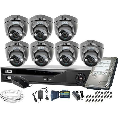 Bcs Zm11955 7 kamer monitoringu bcs-dmqe1500ir3-g + rejestrator bcs-xvr08014ke-ii 1tb
