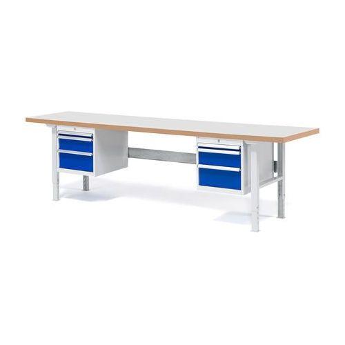 Stół roboczy solid, 6 szuflad, obciążenie 500 kg, 2500x800 mm, laminat marki Aj produkty