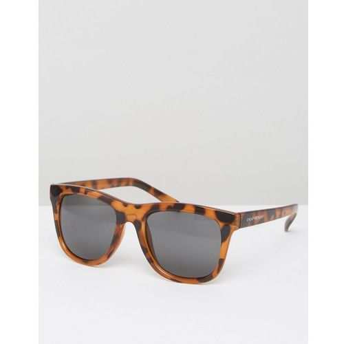 Cheap monday  shield sunglasses with flat top in tortoise print - brown