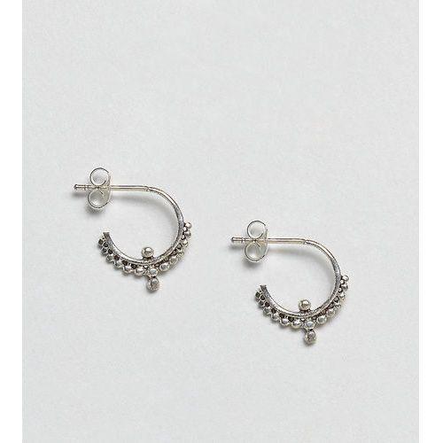 Kingsley Ryan Sterling Silver Ornate Hoop Earrings - Silver, kolor szary