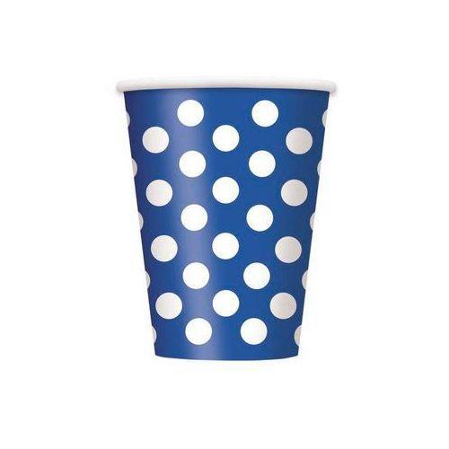 Unique Kubeczki urodzinowe niebieskie w białe kropki - 355 ml - 6 szt.