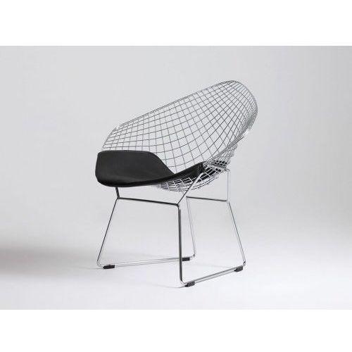 Krzesło metalowe Customform DIAMENT - srebrny, poducha czarny, kolor czarny