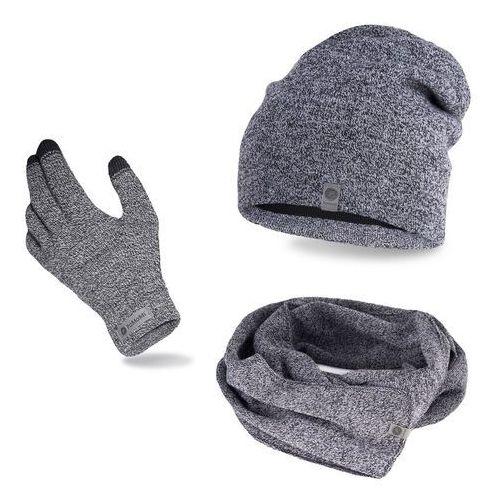 Pamami Komplet męski - czapka, szalik, rękawiczki - jasnoszara mulina