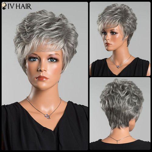 Short Layered Colormix Side Bang Curly Siv Human Hair Wig, kup u jednego z partnerów