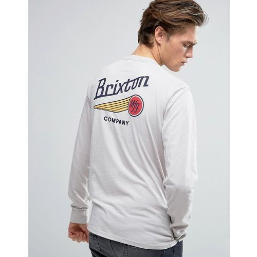 Brixton  maverick long sleeve t-shirt with back print - stone