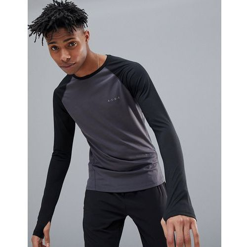 ASOS 4505 Long Sleeve T-Shirt With Quick Dry And Contrast Raglan - Black