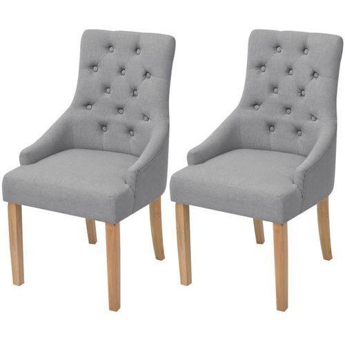 Dębowe krzesła do jadalni, tapicerowane tkaniną, jasnoszare, 2 szt.