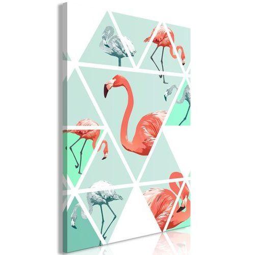 Obraz - geometryczne flamingi (1-częściowy) pionowy marki Artgeist