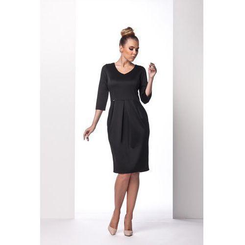 Czarna Sukienka Bombka z Długim Rękawem, GL104bl