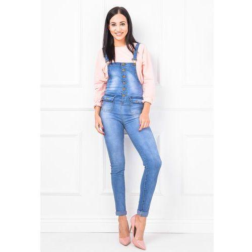 Jasne ogrodniczki jeans