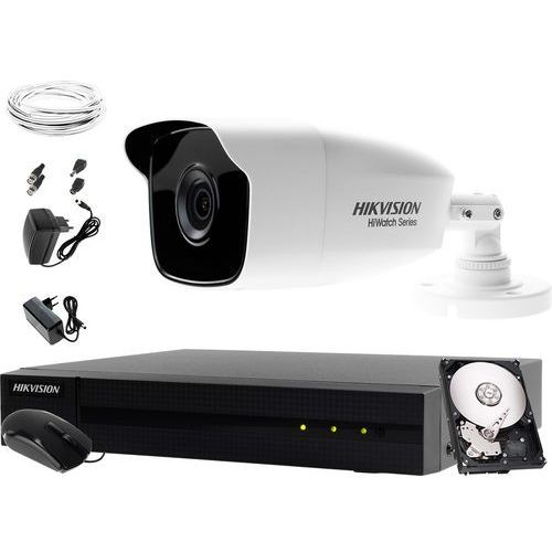 Hikvision hiwatch Monitoring komplet do obory komórki hwd-6104mh-g2 1 x hwt-b220-m 1tb akcesoria