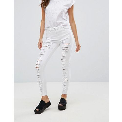 Parisian Extreme Rip Skinny Jeans - White, jeans