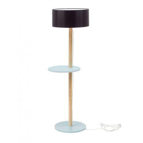 Lampa podłogowa drewniana ufo - jasnoszara/abażur czarny marki Ragaba