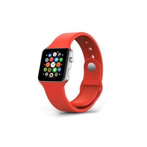 Czerwony sportowy silikonowy pasek do apple watch 38mm - czerwony marki 4kom.pl