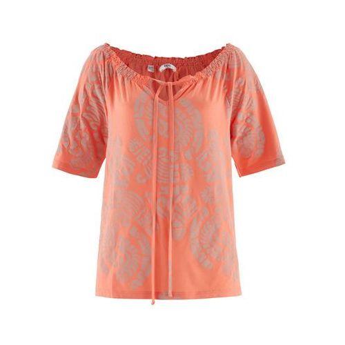 Tunika shirtowa, krótki rękaw bonprix łososiowy z nadrukiem, wiskoza