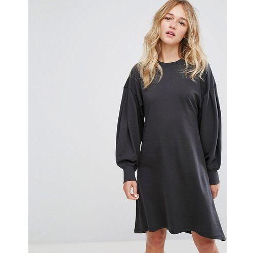 Monki Skater Midi Sweat Dress - Black, kolor czarny