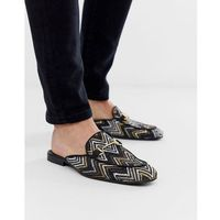 woven backless loafers with snaffle - black, River island