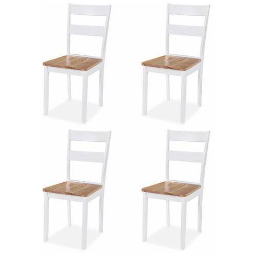 vidaXL Krzesła do jadalni, 4 szt., drewno kauczukowca, białe